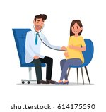 pregnant woman character vector ... | Shutterstock .eps vector #614175590