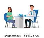 pregnant woman character vector ... | Shutterstock .eps vector #614175728