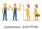 construction worker character... | Shutterstock .eps vector #614175740