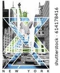 photo print new york and statue ...   Shutterstock . vector #614178416
