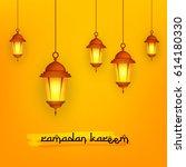 shiny hanging lamps  ramdan... | Shutterstock .eps vector #614180330