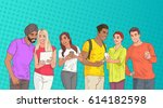mix race people group using...   Shutterstock .eps vector #614182598