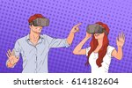 woman and man wear virtual... | Shutterstock .eps vector #614182604