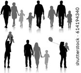 set silhouette of happy family... | Shutterstock .eps vector #614194340