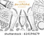 pub food frame vector... | Shutterstock .eps vector #614194679