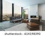 interior of a large spacious... | Shutterstock . vector #614198390