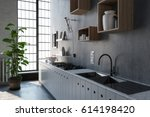 3d rendering scene with large... | Shutterstock . vector #614198420