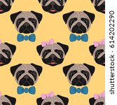 pugs. girl and boy. seamless... | Shutterstock .eps vector #614202290