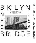 photo print brooklyn bridge  ... | Shutterstock . vector #614204210