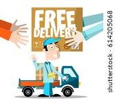 free delivery. vector man  van...   Shutterstock .eps vector #614205068