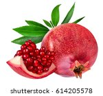 pomegranate isolated on white... | Shutterstock . vector #614205578