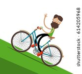 hipster man on bike cycling... | Shutterstock .eps vector #614205968