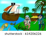 cartoon pirates on a tropical... | Shutterstock .eps vector #614206226