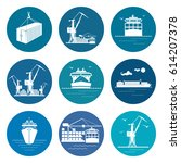 ocean freight transportation... | Shutterstock .eps vector #614207378