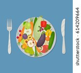 healthy food. plate with... | Shutterstock .eps vector #614209664