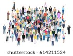 crowd of different people ... | Shutterstock .eps vector #614211524