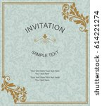 vintage invitation card with... | Shutterstock .eps vector #614221274