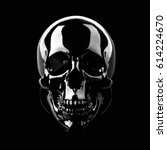 Small photo of Black skull on a black background