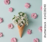 Ice Cream Cone With White And...