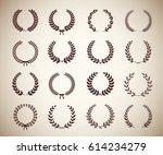 collection of sixteen circular... | Shutterstock .eps vector #614234279