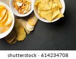 salty snacks. pretzels  chips ... | Shutterstock . vector #614234708