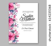 hibiscus wedding invitation... | Shutterstock .eps vector #614235368