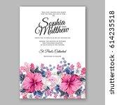 hibiscus wedding invitation... | Shutterstock .eps vector #614235518