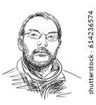 portrait of man wearing glasses ... | Shutterstock .eps vector #614236574