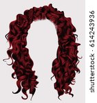 long curly hairs rad colors . ... | Shutterstock .eps vector #614243936