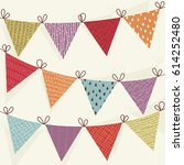 cute flags set. bunting... | Shutterstock .eps vector #614252480