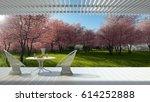 minimalist modern terrace with... | Shutterstock . vector #614252888