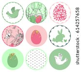 easter theme circle tags | Shutterstock .eps vector #614257658