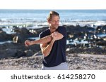 portrait of fitness man... | Shutterstock . vector #614258270