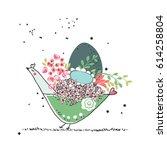 bird with easter egg | Shutterstock .eps vector #614258804