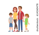 young modern family portrait.... | Shutterstock .eps vector #614260478