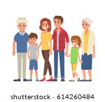 big family portrait with... | Shutterstock .eps vector #614260484