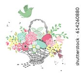 easter basket with colorful... | Shutterstock .eps vector #614260880