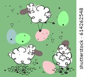 sheeps and eggs | Shutterstock .eps vector #614262548