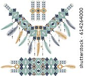hand drawn tribal geometric... | Shutterstock .eps vector #614264000