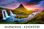 kirkjufell volcano the coast of ... | Shutterstock . vector #614265530