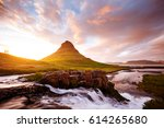 epic view of kirkjufell volcano ... | Shutterstock . vector #614265680