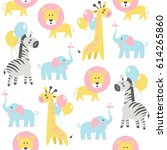 seamless pattern with lion ... | Shutterstock .eps vector #614265860