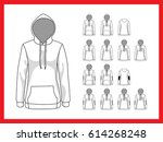 female sweatshirt with hood and ... | Shutterstock .eps vector #614268248