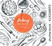 bakery illustration. vintage... | Shutterstock .eps vector #614268893