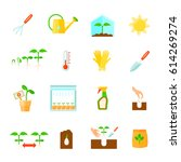 seedling icons set with... | Shutterstock .eps vector #614269274