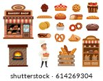 bakery icons set with cook... | Shutterstock .eps vector #614269304