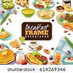 breakfast frame with coffee... | Shutterstock .eps vector #614269346