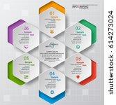 vector abstract 3d paper... | Shutterstock .eps vector #614273024