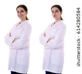 Smiling female doctor assistant ...
