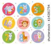 birthday anniversary numbers... | Shutterstock .eps vector #614281754